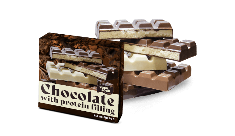 CHOCOLATE WITH PROTEIN FILLING